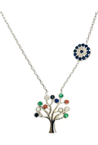 Magümüş Hayat Ağacı Renkli Taş Nazarlı Gümüş Kolye