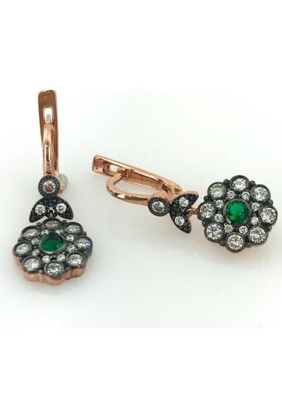 Magümüş Zümrüt Yeşili Elmas Montür Altın Modeli Gümüş Küpe