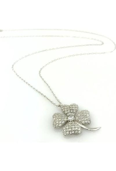 Magümüş Yeni Beyaz Yonca Altın Modeli Gümüş Kolye