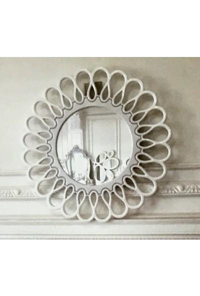Öz-Kar Ahşap El Oyma Desen Dekoratif Ayna Alyans Beyaz