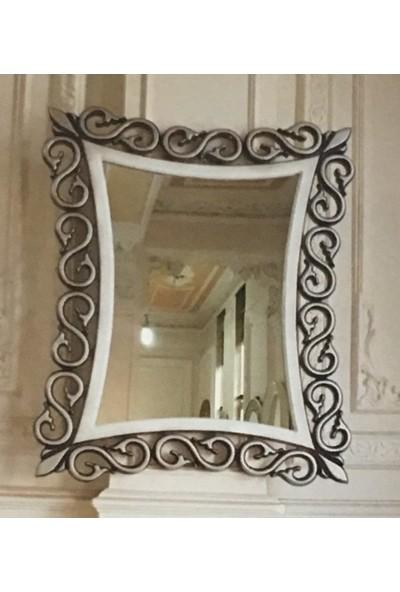 Öz-Kar Ahşap El Oyma Desenli Dekoratif Ayna Gümüş