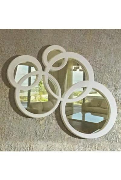 Öz-Kar Ahşap El Oyması Dekoratif Ayna Meridyen Beyaz