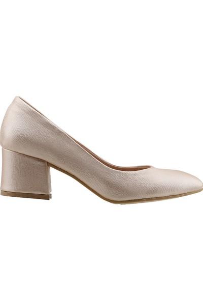 Ayakland 97544-312 Günlük 5 Cm Topuk Çupra Kadın Topuklu Ayakkabı Pudra