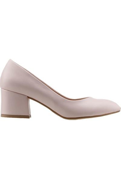 Ayakland 97544-312 Günlük 5 Cm Topuk Cilt Kadın Topuklu Ayakkabı Pudra