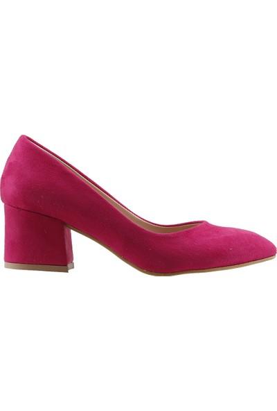 Ayakland 97544-312 Günlük 5 Cm Topuk Kadın Lüx Süet Topuklu Ayakkabı Fuşya