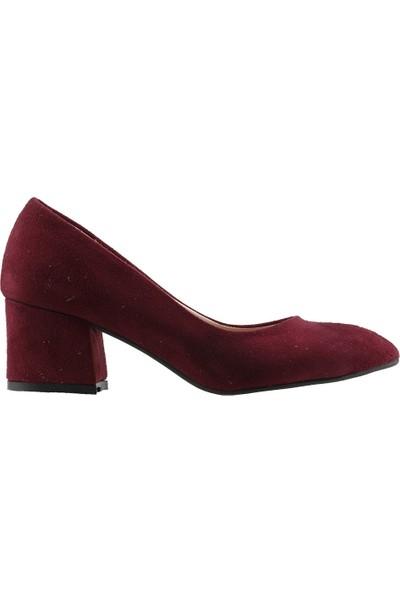 Ayakland 97544-312 Günlük 5 Cm Topuk Kadın Lüx Süet Topuklu Ayakkabı Bordo
