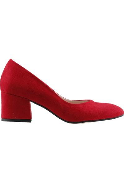 Ayakland 97544-312 Günlük 5 Cm Topuk Kadın Lüx Süet Topuklu Ayakkabı Kırmızı