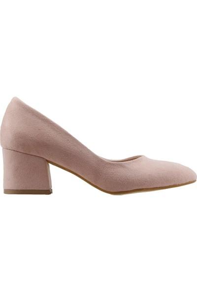 Ayakland 97544-312 Günlük 5 Cm Topuk Kadın Lüx Süet Topuklu Ayakkabı Pudra
