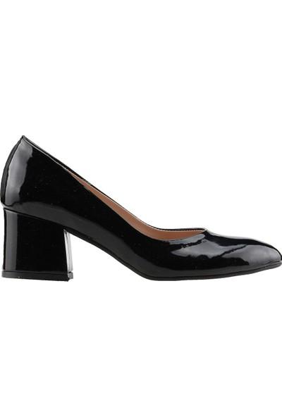 Ayakland 97544-312 Günlük 5 Cm Topuk Kadın Rugan Topuklu Ayakkabı Siyah