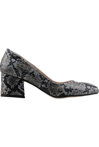 Ayakland 544-312 Günlük 5 Cm Topuk Kadın Yıldız Topuklu Ayakkabı Beyaz
