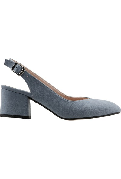 Ayakland 544-307 Günlük Babet 5 Cm Topuk Kadın Lüx Süet Sandalet Ayakkabı Mavi