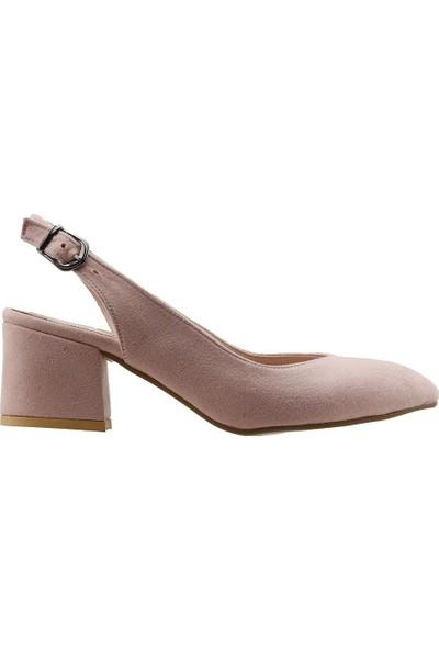 Ayakland 544-307 Günlük Babet 5 Cm Topuk Kadın Lüx Süet Sandalet Ayakkabı Pudra