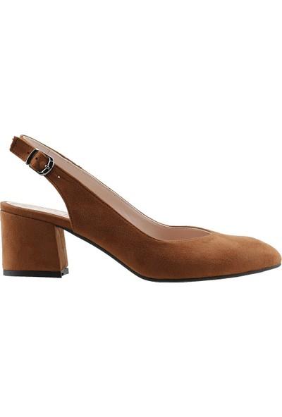 Ayakland 544-307 Günlük Babet 5 Cm Topuk Kadın Lüx Süet Sandalet Ayakkabı Taba