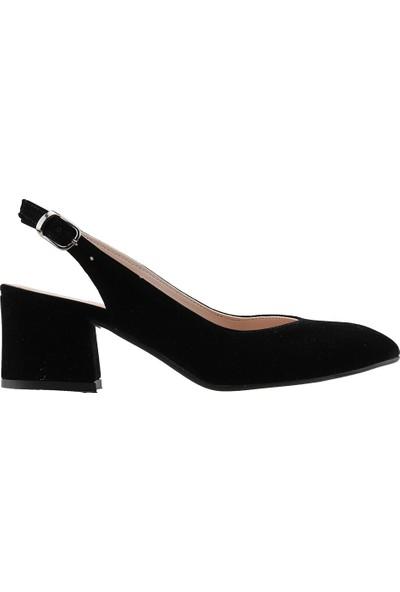 Ayakland 544-307 Günlük Babet 5 Cm Topuk Kadın Lüx Süet Sandalet Ayakkabı Siyah