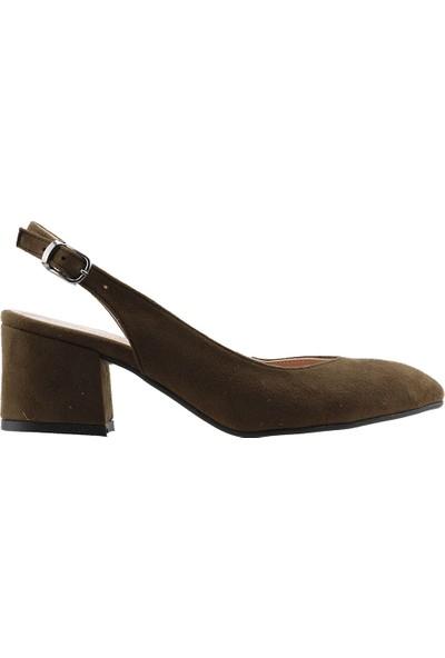 Ayakland 544-307 Günlük Babet 5 Cm Topuk Kadın Lüx Süet Sandalet Ayakkabı Yeşil