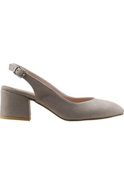 Ayakland 544-307 Günlük Babet 5 Cm Topuk Kadın Lüx Süet Sandalet Ayakkabı Ten