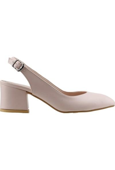 Ayakland 544-307 Günlük Babet 5 Cm Topuk Kadın Cilt Sandalet Ayakkabı Pudra