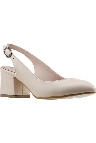 Ayakland 544-307 Günlük Babet 5 Cm Topuk Kadın Cilt Sandalet Ayakkabı Ten