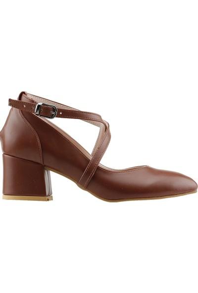 Ayakland 544-1121 Babet 5 Cm Topuk Kadın Cilt Sandalet Ayakkabı Taba