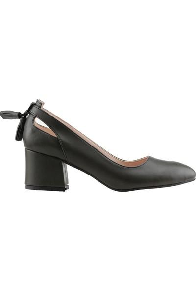 Ayakland 544-1150 Babet 5 Cm Topuk Kadın Cilt Sandalet Ayakkabı Yeşil