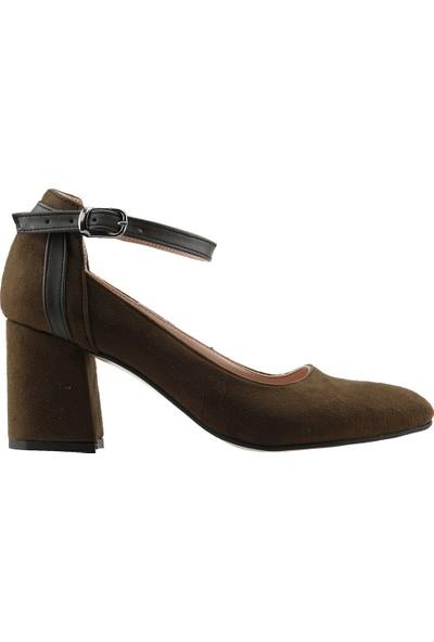 Ayakland 111012-1116 Babet 7 Cm Topuk Kadın Lüx Süet Sandalet Ayakkabı Yeşil