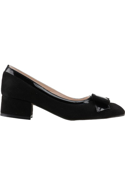 Ayakland 575-1135 Babet 5 Cm Topuk Kadın Lüx Süet Ayakkabı Siyah