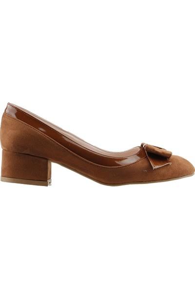 Ayakland 575-1135 Babet 5 Cm Topuk Kadın Lüx Süet Ayakkabı Taba