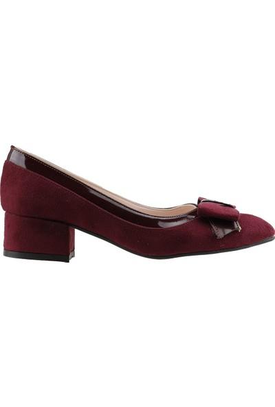 Ayakland 575-1135 Babet 5 Cm Topuk Kadın Lüx Süet Ayakkabı Bordo
