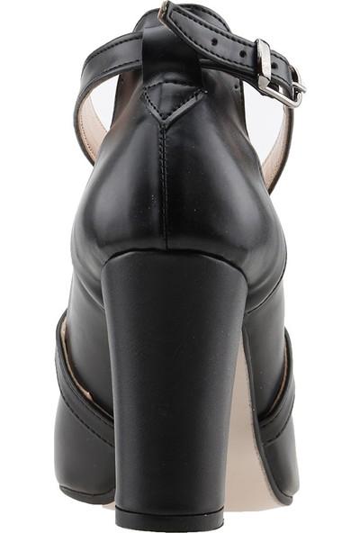 Ayakland 137029-1122 Kemerli 7 Cm Topuk Kadın Cilt Sandalet Ayakkabı Siyah