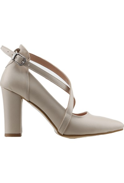 Ayakland 137029-1122 Kemerli 7 Cm Topuk Kadın Cilt Sandalet Ayakkabı Krem