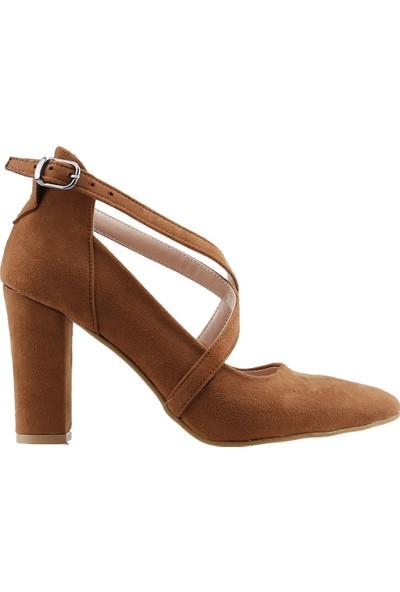 Ayakland 137029-1122 Kemerli 7 Cm Topuk Kadın Lüx Süet Sandalet Ayakkabı Taba
