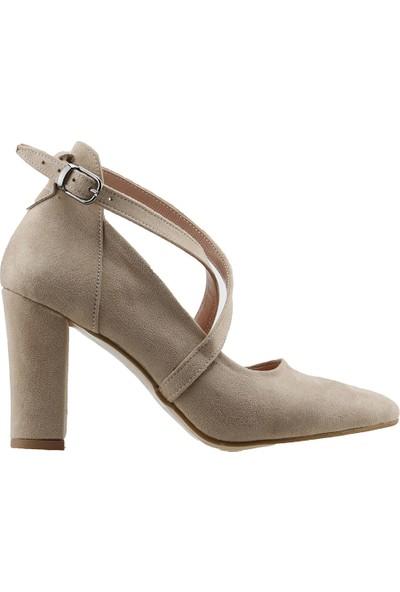 Ayakland 137029-1122 Kemerli 7 Cm Topuk Kadın Lüx Süet Sandalet Ayakkabı Ten