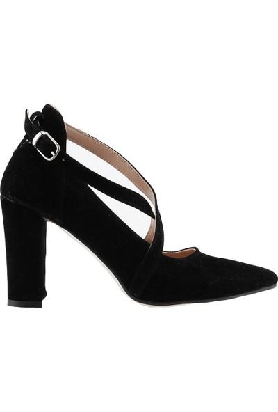 Ayakland 137029-1122 Kemerli 7 Cm Topuk Kadın Lüx Süet Sandalet Ayakkabı Siyah