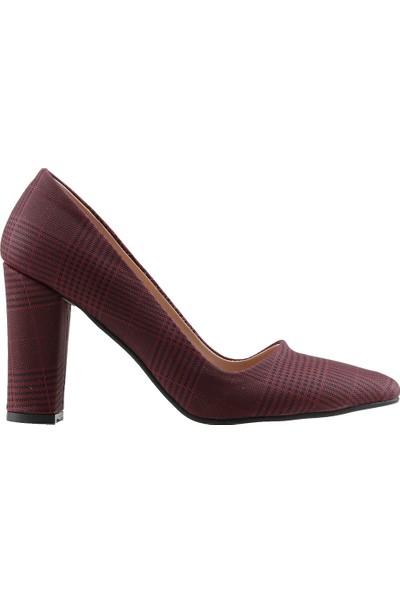 Ayakland 137029-311 Günlük 8 Cm Topuk Kadın Ekose Klasik Ayakkabı Bordo