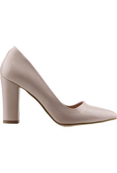 Ayakland 137029-311 Günlük 8 Cm Topuk Kadın Rugan Klasik Ayakkabı Pudra