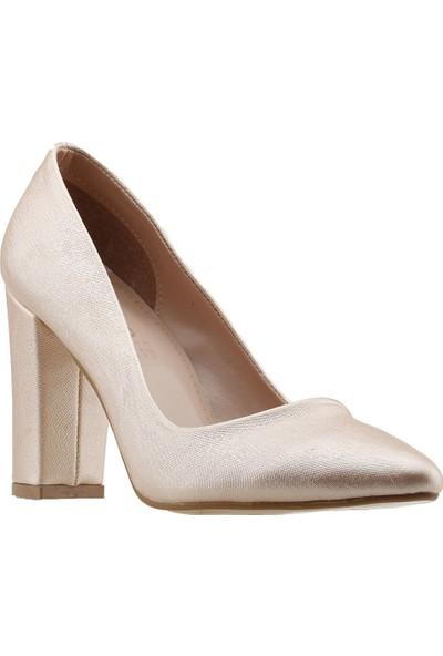 Ayakland 137029-311 Günlük 8 Cm Topuk Kadın Çupra Klasik Ayakkabı Pudra