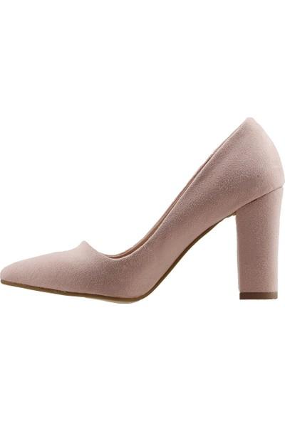 Ayakland 137029-311 Günlük 8 Cm Topuk Kadın Lüx Süet Klasik Ayakkabı Pudra