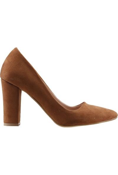 Ayakland 137029-311 Günlük 8 Cm Topuk Kadın Lüx Süet Klasik Ayakkabı Taba