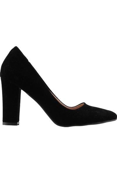 Ayakland 137029-311 Günlük 8 Cm Topuk Kadın Lüx Süet Klasik Ayakkabı Siyah