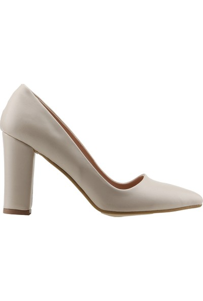 Ayakland 137029-311 Günlük 8 Cm Topuk Kadın Cilt Klasik Ayakkabı Krem