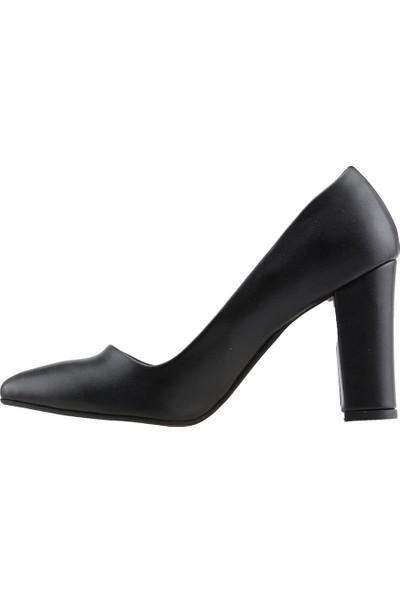 Ayakland 137029-311 Günlük 8 Cm Topuk Kadın Cilt Klasik Ayakkabı Siyah
