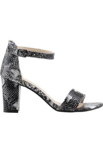 Ayakland Bsm 62 Günlük 7 Cm Topuk Kadın Cilt Sandalet Ayakkabı Siyah