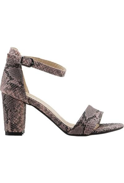 Ayakland Bsm 62 Günlük 7 Cm Topuk Kadın Desenli Cilt Sandalet Ayakkabı Pudra