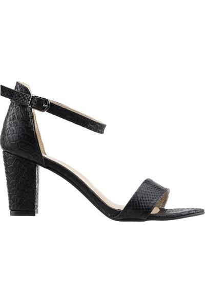 Ayakland Bsm 62 Günlük 7 Cm Topuk Kadın Desenli Cilt Sandalet Ayakkabı Siyah