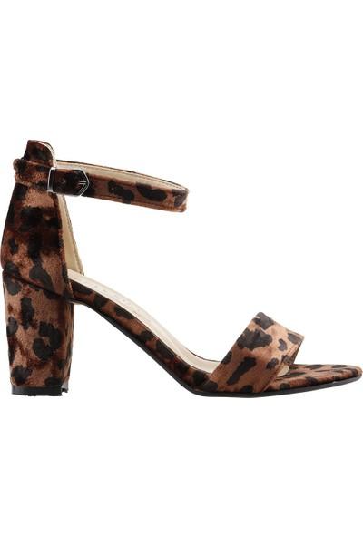 Ayakland Bsm 62 Günlük 7 Cm Topuk Kadın Leopar Desenli Süet Sandalet Ayakkabı Kahverengi