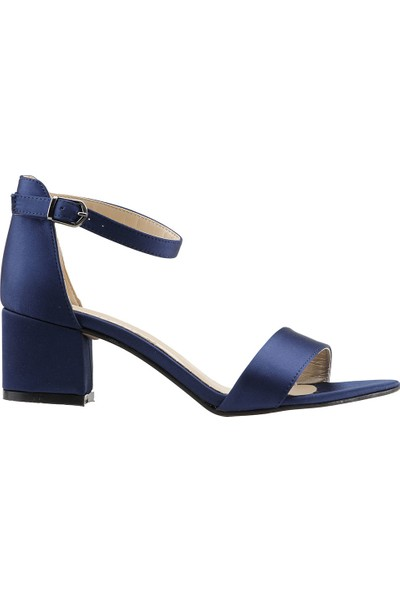 Ayakland Bsm 62 Günlük 5 Cm Topuk Kadın Saten Sandalet Ayakkabı Lacivert