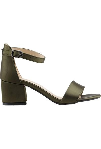 Ayakland Bsm 62 Günlük 5 Cm Topuk Kadın Saten Sandalet Ayakkabı Yeşil