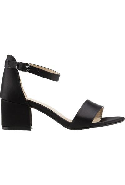 Ayakland Bsm 62 Günlük 5 Cm Topuk Kadın Saten Sandalet Ayakkabı Siyah