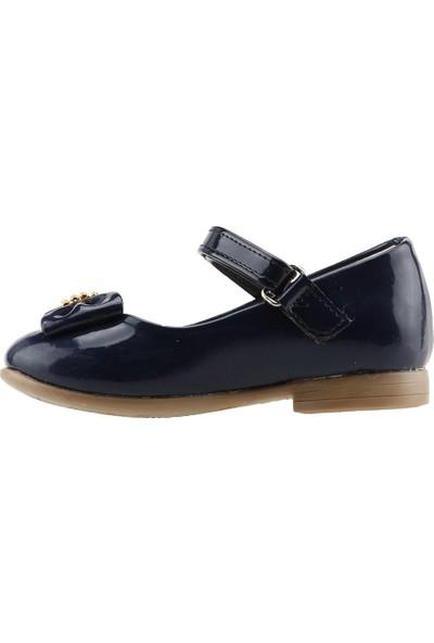Pamuk Günlük Abiye Cırtlı Kemerli Tokalı Kız Çocuk Babet Ayakkabı Lacivert