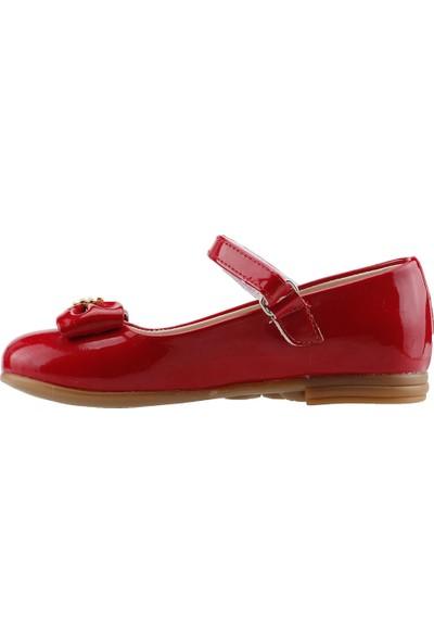 Pamuk Günlük Abiye Cırtlı Kemerli Tokalı Kız Çocuk Babet Ayakkabı Kırmızı